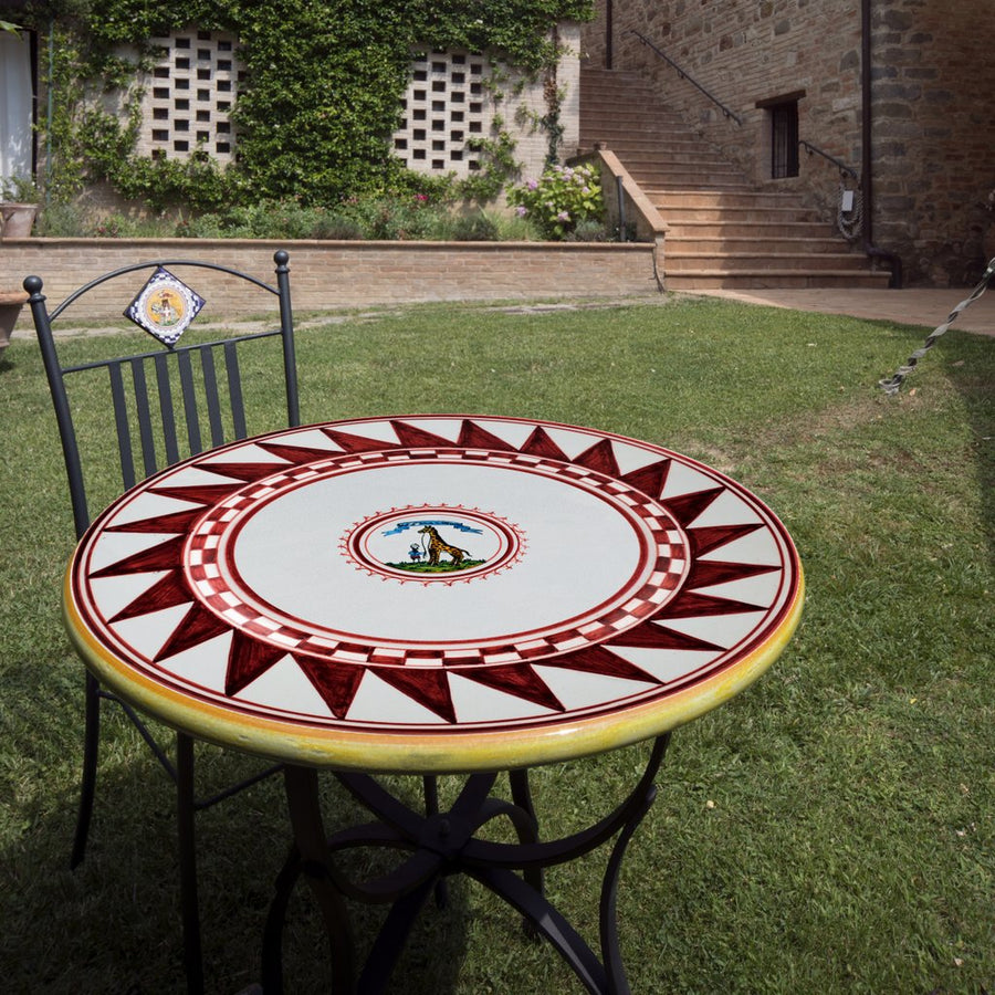 PALIO DI SIENA: Table + Iron Base GIRAFFA (GIRAFFE) Design