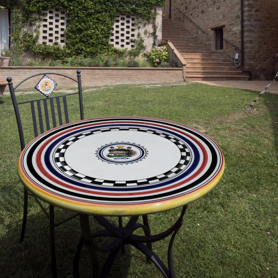 PALIO DI SIENA: Table + Iron Base ISTRICE (PORCUPINE) Design