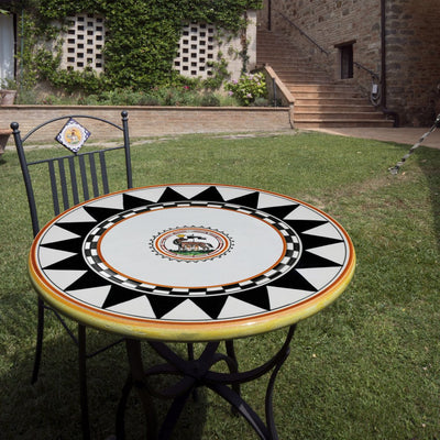 PALIO DI SIENA: Table + Iron Base LUPA (She Wolf) Design