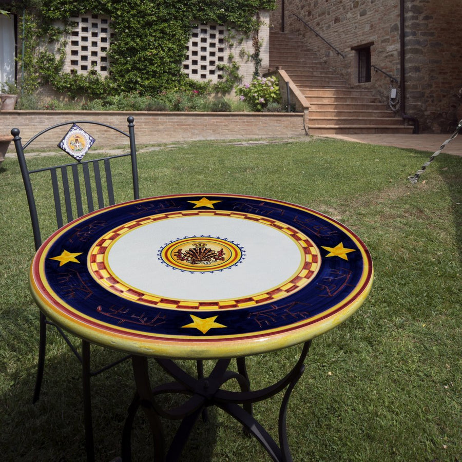 PALIO DI SIENA: Table + Iron Base NICCHIO (Shell) Design