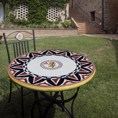 PALIO DI SIENA: Table + Iron Base PANTERA (Panther) Design