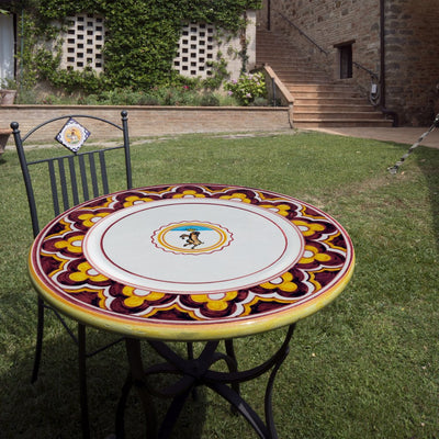 PALIO DI SIENA: Table + Iron Base MONTONE (Ram) Design