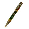 ART-PEN: Handcrafted Luxury Twist Pen - RAFFAELLESCO DRAGON Ant. Brass with Rainbow Copper and Green body