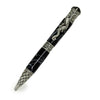 ART-PEN: Handcrafted Luxury Twist Pen - RAFFAELLESCO DRAGON Ant. Pewter with Lava Bright Classic Black with White Thread body