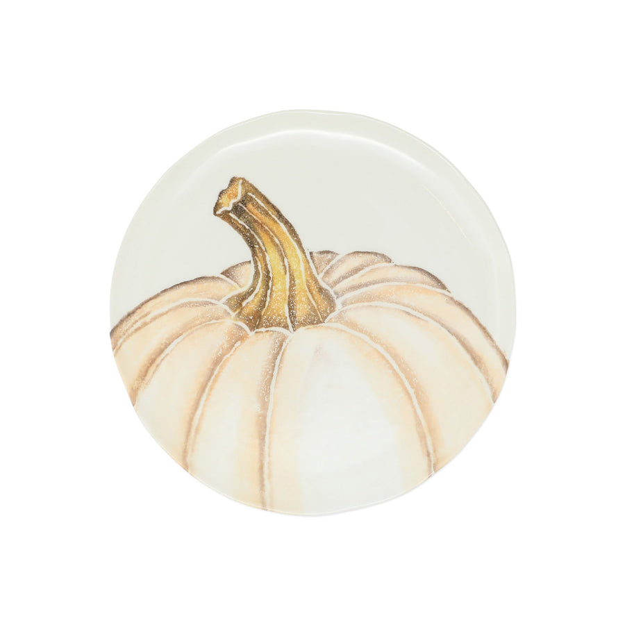 VIETRI: Pumpkins Salad Plate - White Medium Pumpkin