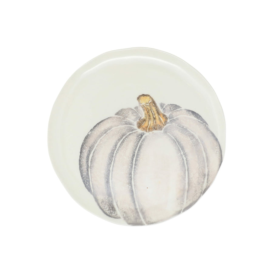 VIETRI: Pumpkins Salad Plate - Gray Medium Pumpkin