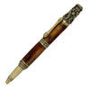 ART-PEN: Handcrafted Luxury Twist Pen - Ricco Deruta Design - Antique Brass with Marble Antique Amber Acrylic body