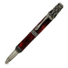 ART-PEN: Handcrafted Luxury Twist Pen - Ricco Deruta Design - Antique Pewter with Synthetic Burl Bright Red Acrylic body
