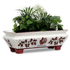 ORVIETO RED ROOSTER: Rectangular Jardiniere Planter on feet