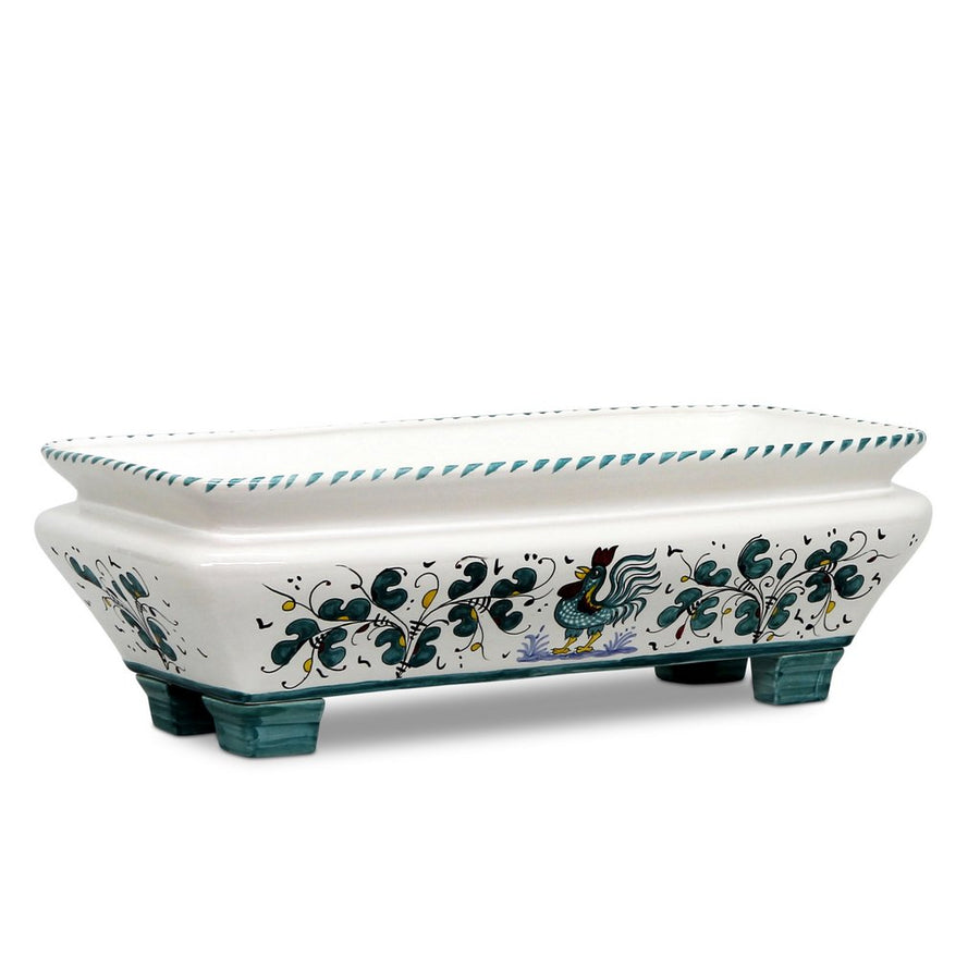 ORVIETO GREEN ROOSTER: Rectangular Jardiniere Planter on feet