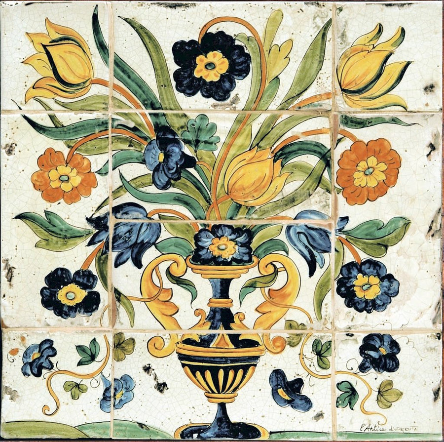 ANTICA DERUTA: WALL PANEL BACKSPLASH VASE OF FLOWER
