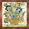 ANTICA DERUTA: Hand Painted Framed Cermic Tiles Panel - Flower