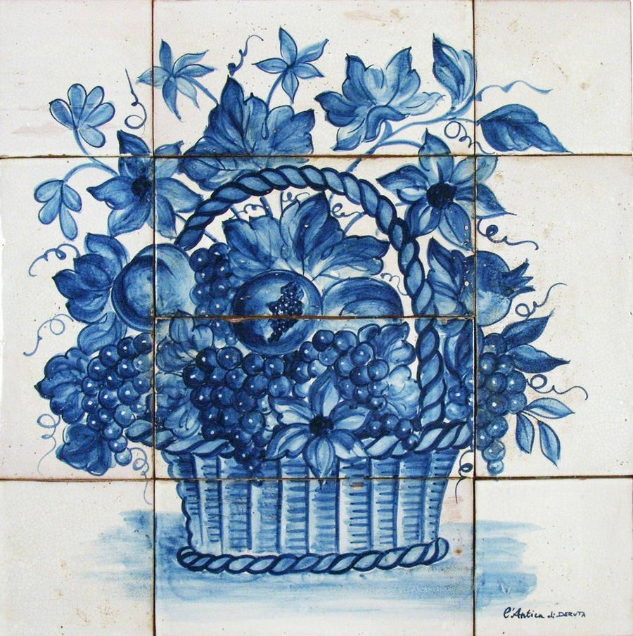 ANTICA DERUTA: WALL PANEL BACKSPLASH CESTO FRUTTA BLU