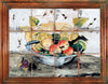 ANTICA DERUTA: Hand Painted Framed Cermic Tiles Panel - Fruit on bowl