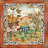 ANTICA DERUTA: Hand Painted Framed Cermic Tiles Panel - Season SPRING