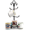 DERUTA MUGS SET: 4 Mugs as shown and wrought iron four arms mug stand tree