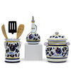 ORVIETO BLUE ROOSTER: Bundle with Utensil Holder + Olive Oil Dispenser + Biscotti Jar