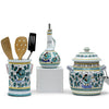 ORVIETO GREEN ROOSTER: Bundle with Utensil Holder + Olive Oil Dispenser + Biscotti Jar