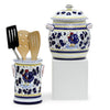 ORVIETO BLUE ROOSTER: Bundle with Utensil Holder + Biscotti Jar