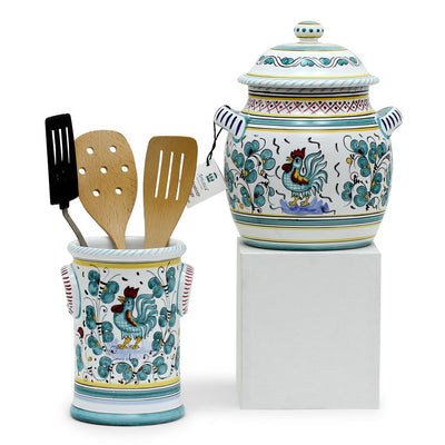 ORVIETO GREEN ROOSTER: Bundle with Utensil Holder + Biscotti Jar