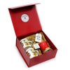 VALENTINE: DeLuxe Glossy Red Gift Box with Two Love Mugs + Red and 24K Gold Trimmed Candle (Ocean Rose Scent)