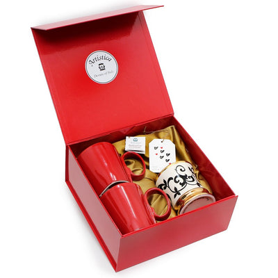 VALENTINE: DeLuxe Red Gift Box with two Mugs and one Precious 24K Gold Trimmed Candle (Ocean Rose Scent)