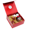 VALENTINE: DeLuxe Red Gift Box with two Arte Italica Rosa Wine Glasses + Handblown Murano Candle (Ocean Rose Scent)