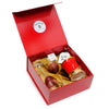 VALENTINE: DeLuxe Red Gift Box with two Arte Italica Rosa Wine Glasses + Red and 24K Gold Trimmed Candle (Ocean Rose Scent)