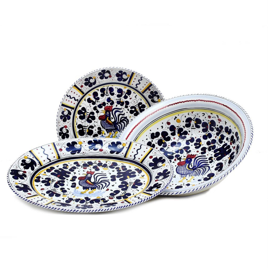 ORVIETO BLUE ROOSTER: Serving Set Charger + Salad Pasta Bowl + Oval Platter