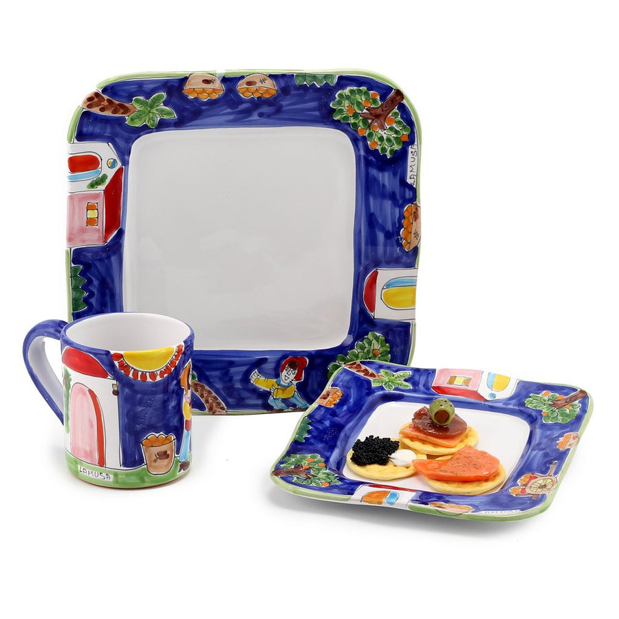 LA MUSA: 3 Pcs Set include: Dinner Plate + Salad plate + Jumbo Mug (16 Oz) Sicilian Oranges Harvest