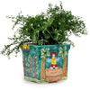 LA MUSA: Large Square Planter Sicilian Grape Harvest AQUA GREEN