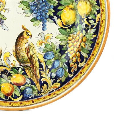 MAJOLICA MONTELUPO PAPPAGALLO: Wall Plate (26D)