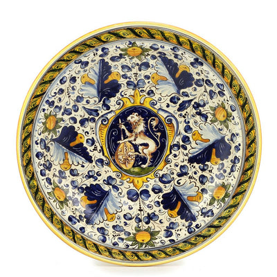 MAJOLICA: Wall plate Table top bowl with medieval crest (19D)