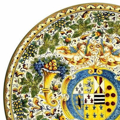 MAJOLICA CORNUCOPIA: Extra large wall plate with crest (28D)
