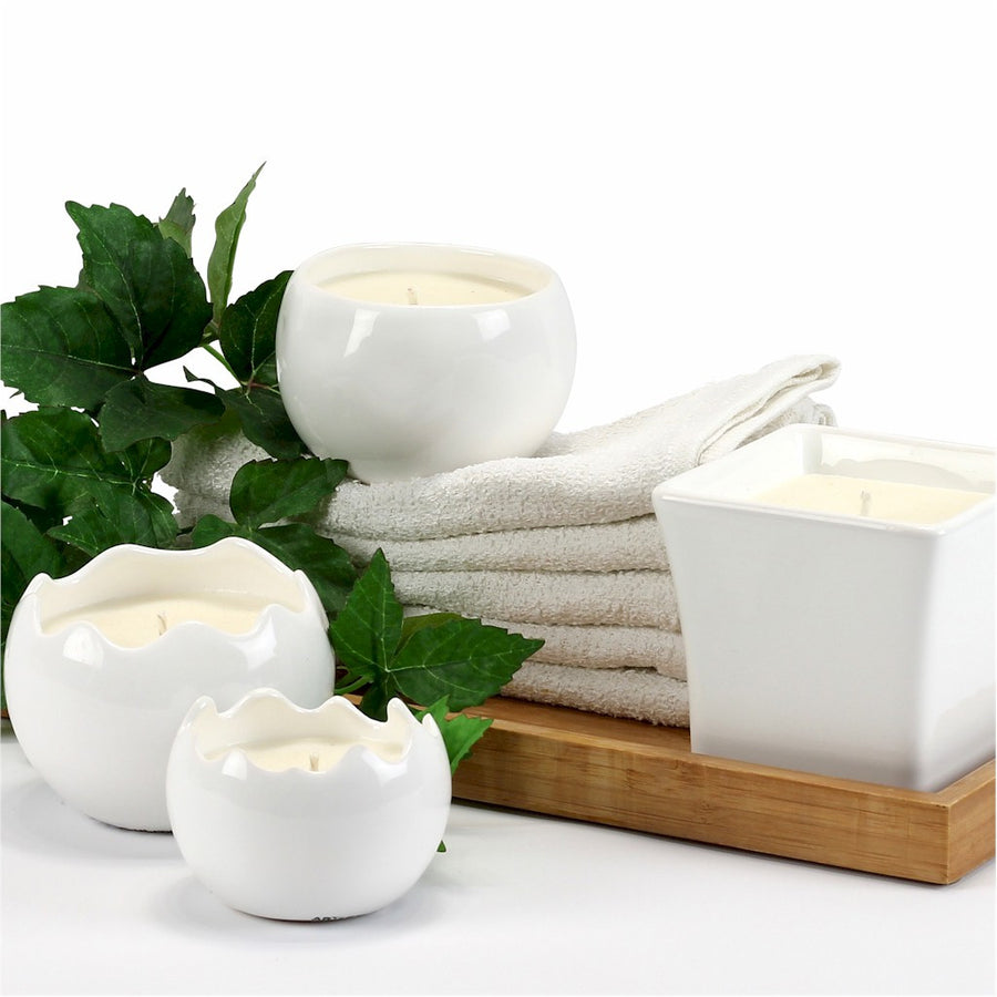 PURITY SPA CANDLE: Sphera Candle fluted rim pure White