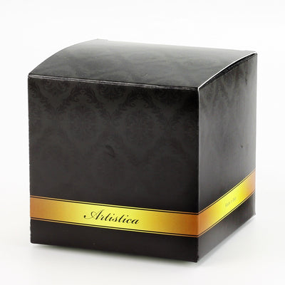 DERUTA MILANO: Large Candle Black with Hand Painted Pure Gold Stripes