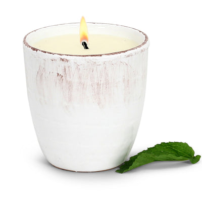 MONDIAL CANDLES: Garden MINT Scented Candle - Vecchia Toscana large ceramic in Antique White (12 Oz)