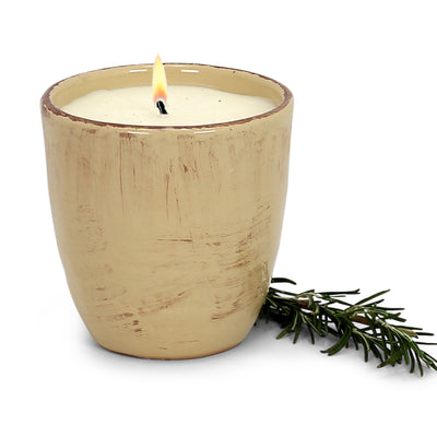 Mediterranean ROSEMARY Scented Candle in a Vecchia Toscana Large Candle Sand Beige (12 Oz)