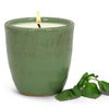 MONDIAL CANDLES: Italian BASIL Scented Candle - Vecchia Toscana ceramic large candle in Kaki Green (12 Oz),