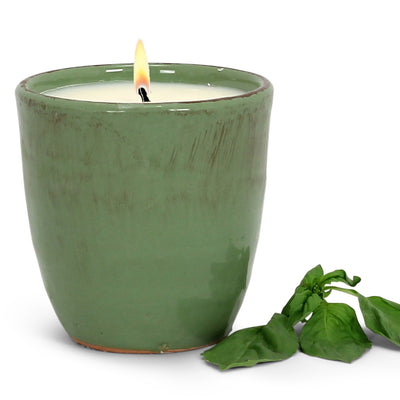 Italian BASIL Scented Candle - Vecchia Toscana ceramic large candle in Kaki Green (12 Oz),