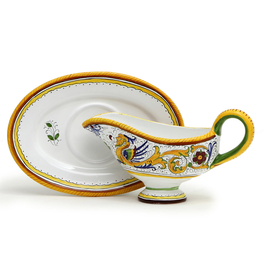 RAFFAELLESCO DELUXE: Gravy Sauce Boat with Tray
