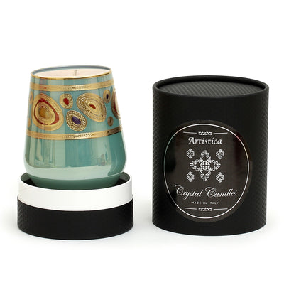 CRYSTAL CANDLES: Regalia Arabesque Design Luxury Glass Candle with 14 Carats Gold finish - Aqua Green color (12 Oz)