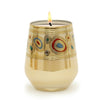 CRYSTAL CANDLES: Regalia Arabesque Design Luxury Glass Candle with 14 Carats Gold finish - Cream color (12 Oz)