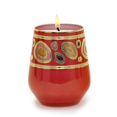 CRYSTAL CANDLES: Regalia Arabesque Design Luxury Glass Candle with 14 Carats Gold finish - Orange-Red color (12 Oz)