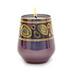 CRYSTAL CANDLES: Regalia Arabesque Design Luxury Glass Candle with 14 Carats Gold finish - Purple color (12 Oz)