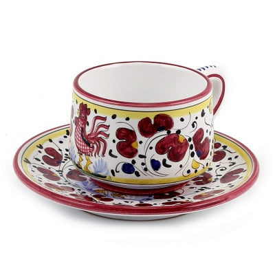ORVIETO RED ROOSTER: Cup and Saucer