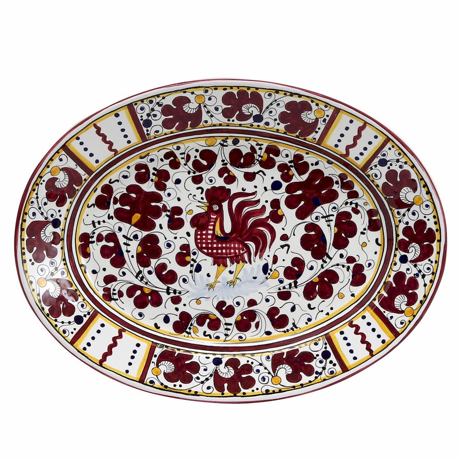 ORVIETO RED ROOSTER: Large Oval Platter