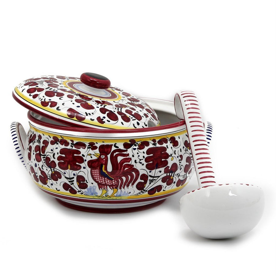 ORVIETO RED ROOSTER: Soup Tureen [R]