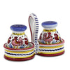 ORVIETO RED ROOSTER: Salt and Pepper cruet set with caddy