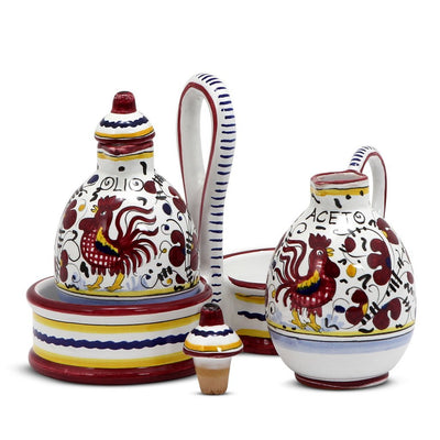 ORVIETO RED ROOSTER: Oil and Vinegar cruets set with caddy [R]
